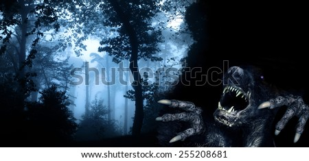 Spooky monster in foggy forest - stock photo
