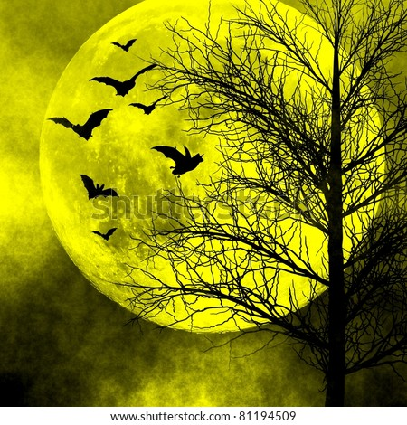 Spooky night background. Halloween background. - stock photo