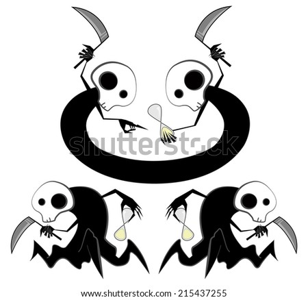 Spooky reapers counting time  - stock photo