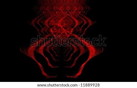 Spooky  red fractal giving the impression of a tunnel