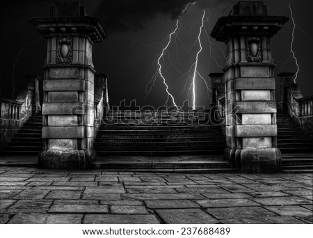 Spooky sandstone steps in thunder and lightning storm - stock photo