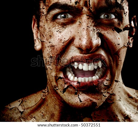 Spooky sinister man with aged cracked peeling skin - stock photo