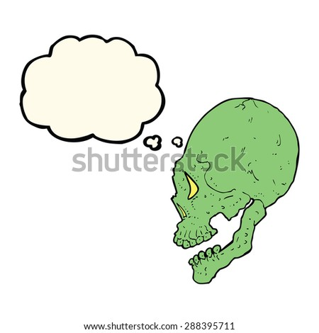 spooky skull illustration with thought bubble - stock photo