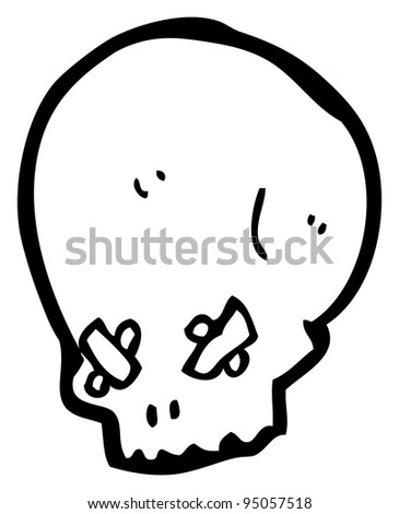 spooky skull with taped eyes cartoon