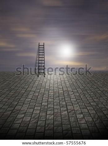 Spooky Surreal Ladder on Cobblestone - stock photo