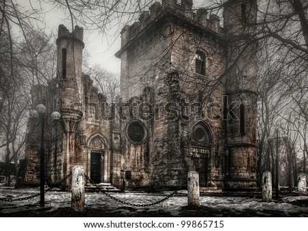 spooky transilvania castle - stock photo