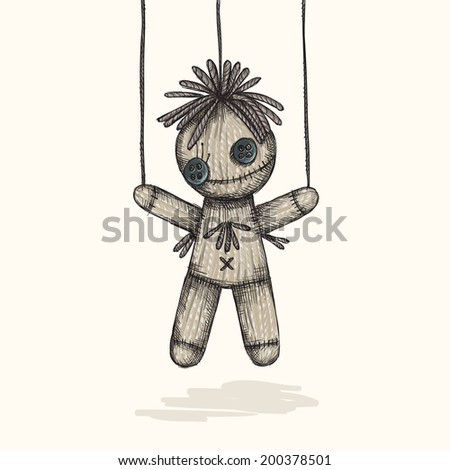 Spooky Voodoo Doll In A Sketch Style - stock photo