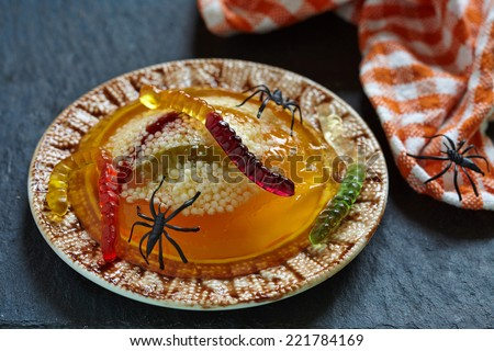 ... worm halloween jello worm and spider nests spooky worm and spider