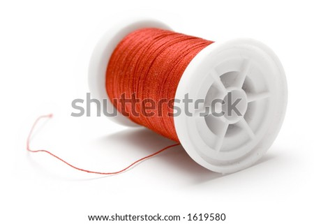 Spool of Red Thread - stock photo