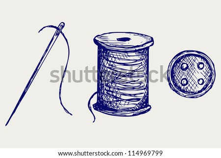 Spool with threads and sewing button. Raster version - stock photo