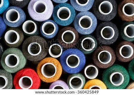 Spools of color cotton threads