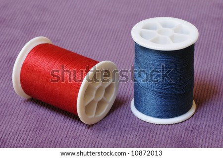 spools of sewing thread - stock photo