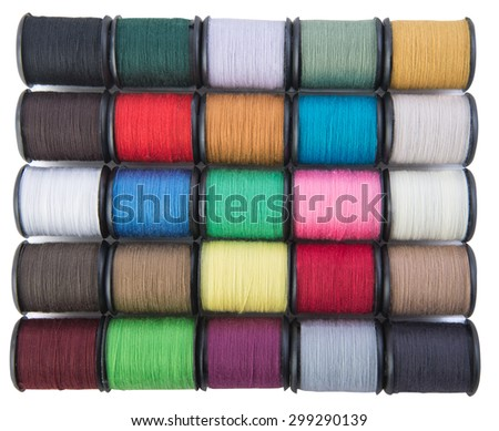 Spools of thread for sewing in many colors