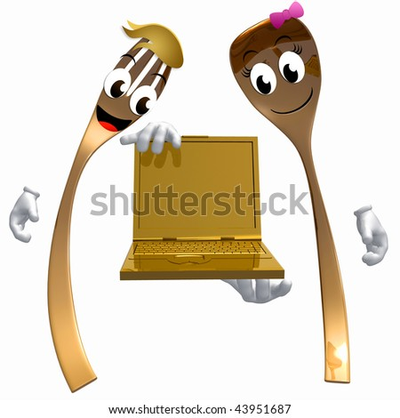 Spoon and fork couple character holding computer laptop illustration