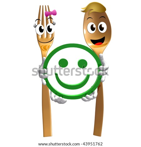 Spoon and fork couple character holding satisfaction sign illustration - stock photo
