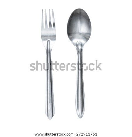 Spoon and fork isolated on white background. This has clipping path. - stock photo
