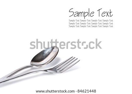 spoon and fork isolated on white with text