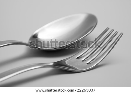 spoon and fork on table - stock photo