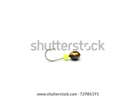 Spoon bait for winter from metal with hook on white background - stock photo