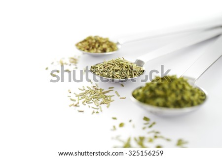 Spoon filled with dried herbs on white background