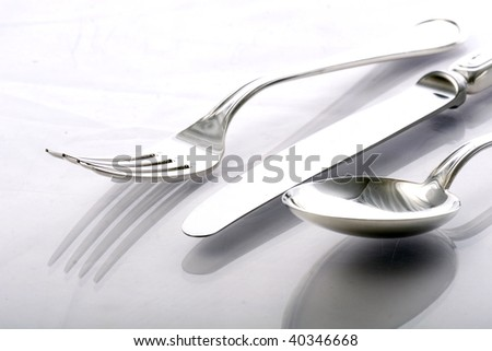 spoon, knife and fork - stock photo