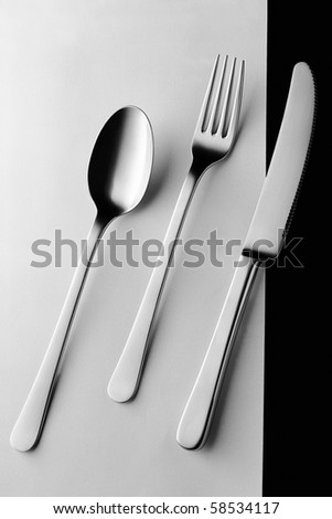 spoon, knife, fork - stock photo