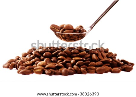 spoon,natural coffe on white background - stock photo
