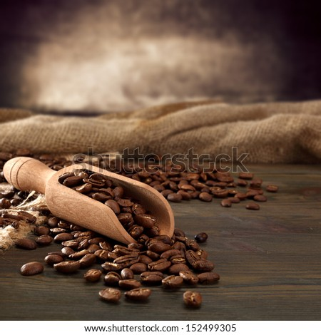 spoon of coffee of wood  - stock photo
