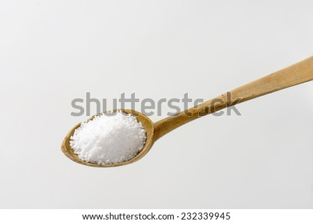 spoon of pure sea salt - stock photo