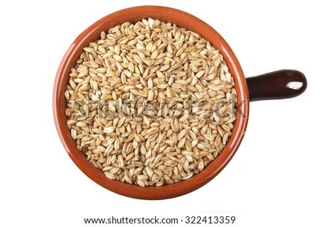 Spoon of Raw Organic Spelt Grain close up on white - stock photo