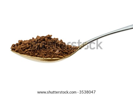 Spoon with coffee, close-up, isolated on white - stock photo