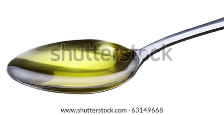 Spoon with olive isolated on a white. - stock photo