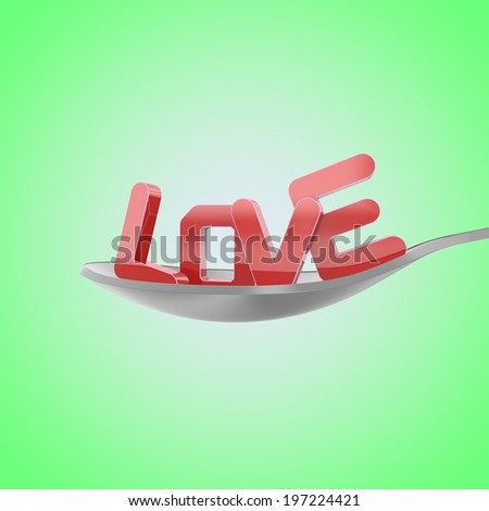 spoon with the word love on a green background - stock photo