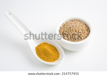 Spoonfilled turmeric powder and mustard seed in bowl isolated over white background - stock photo