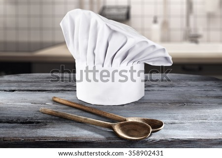 spoons of wood cook hat and space for your food