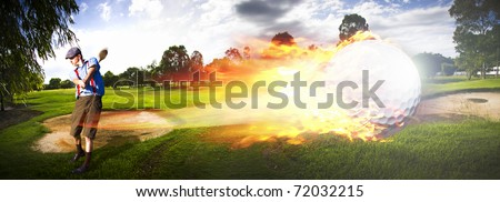 Sport Action Landscape Panoramic Of A Golf Player Hitting A Fast Paced Flaming Golf Ball Through The Golf Course Air In A Motion Of Flames And Fire - stock photo