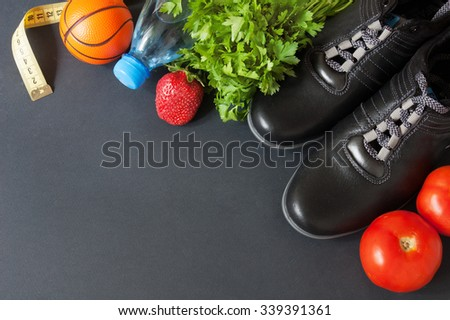 Sport and diet concept. Different tools for sport and diet food. Healthy food  - stock photo