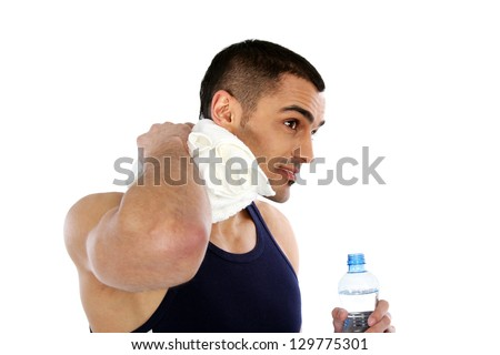 Sport and Fitness - Happy man after workout - stock photo