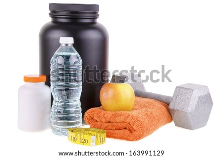 Sport and Fitness Supplement isolated on white background. - stock photo