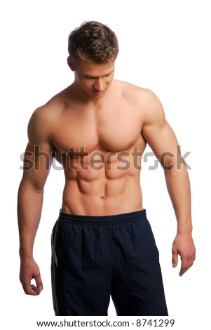 Sport and health body of young muscular man. Isolated on white. - stock photo