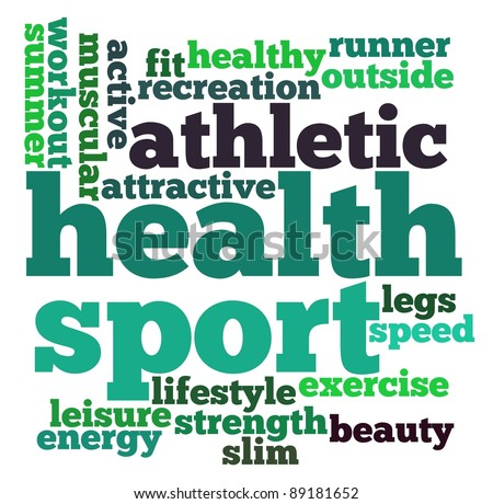 Sport and health info-text graphics and arrangement word clouds concept - stock photo