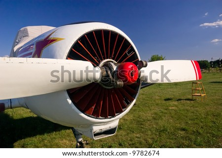 Sport aviation plane propeller, close view - stock photo
