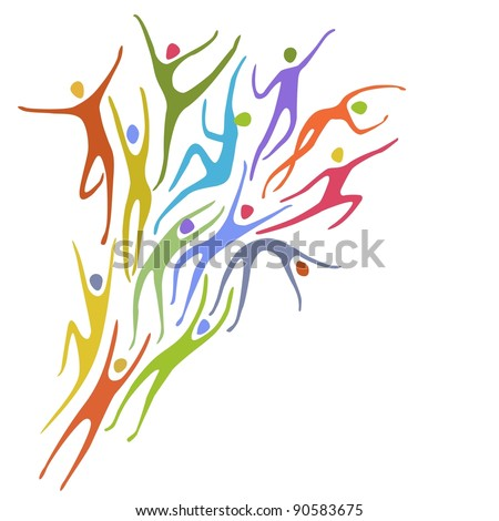 Sport background. Abstract illustration with colorful figures of peoples in motion. Space for text. For vector version see image id 90177475 - stock photo