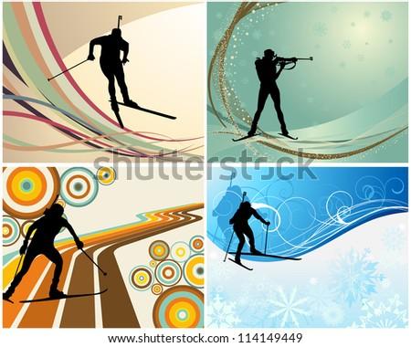 Sport background set with biathlon athlete.  Raster version. - stock photo