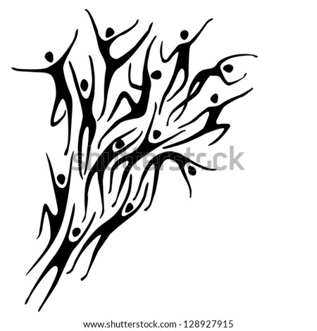 Sport background with silhouettes of person and text box. Abstract black and white simple illustration with figures of peoples in motion. Concept of freedom, competition, activity for print and web - stock photo