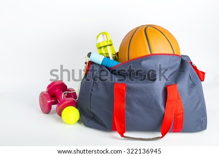 Sport bag for packing your exercise item with white background. - stock photo