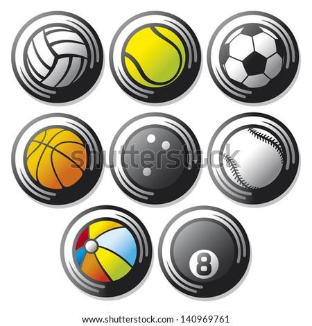 sport ball icons (beach ball, tennis ball, american football ball, football ball - soccer ball, volleyball ball, basketball ball, baseball ball, bowling ball, sport balls buttons) - stock photo