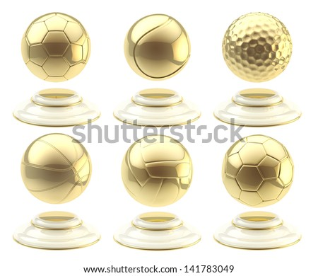 Sport ball shaped golden cups isolated over white background - stock photo