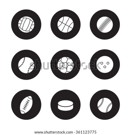 Sport balls black icons set. Hockey puck and bowling ball. Active lifestyle team play games. Sport equipment white silhouettes illustrations isolated on black circles . Raster infographics elements - stock photo