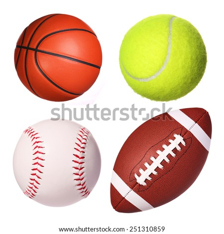 Sport balls collection isolated on white - stock photo